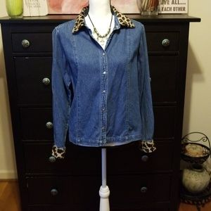 Denim shirt with leopard print collar and wrist